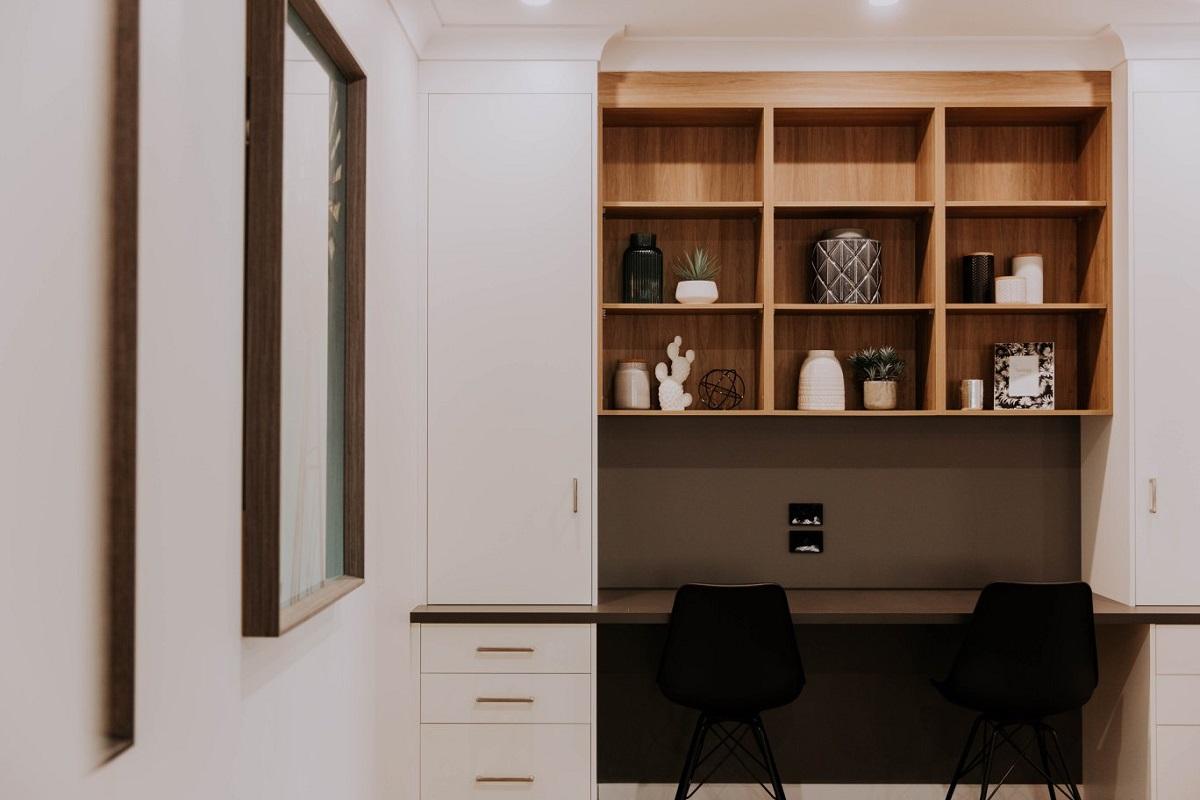 023 Alatalo Bros - home design - custom design - cabinetry - study nook - home office - home cabinet design - interior design - display shelving - display homes - dark cabinets - home design - builders